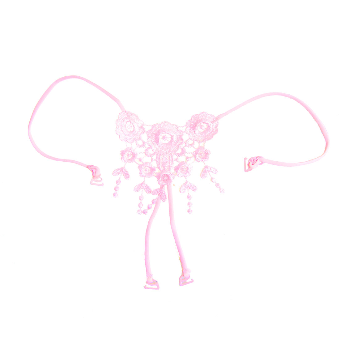 Pink Polyester Flower Cross Back Adjustable Bra Strap for Lady