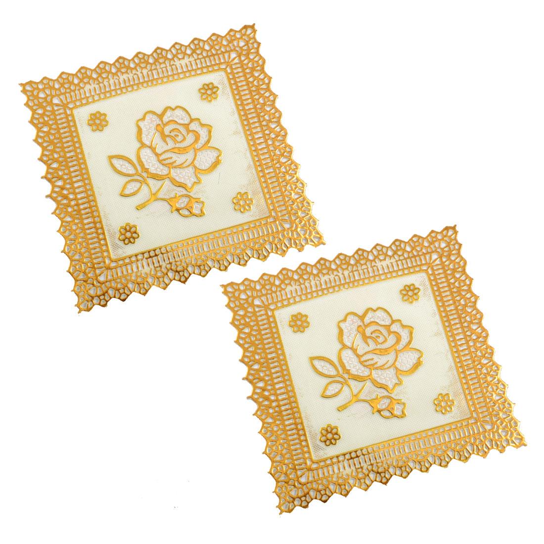 """4.7"""" x 4.7"""" Square Gold Tone Vinyl Plastic Lace Placemat Cup Mat 2 Pcs"""