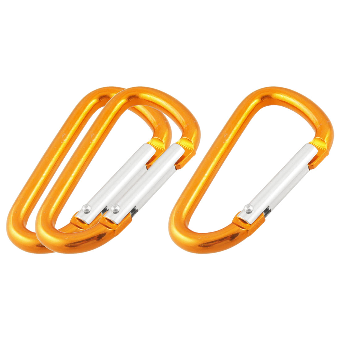 3 Pcs Yellow Spring Loaded Gate D-like Aluminum Alloy Carabiners Hooks