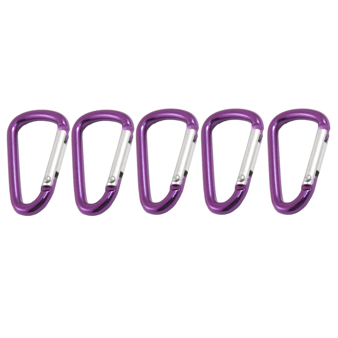 5 Pcs Travel D Shaped Aluminum Alloy Carabiner Clip Hooks Purple