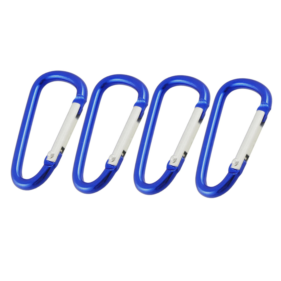 4 Pcs 4.8cm Long Dark Blue Aluminum Alloy Carabiners for Camping Hiking