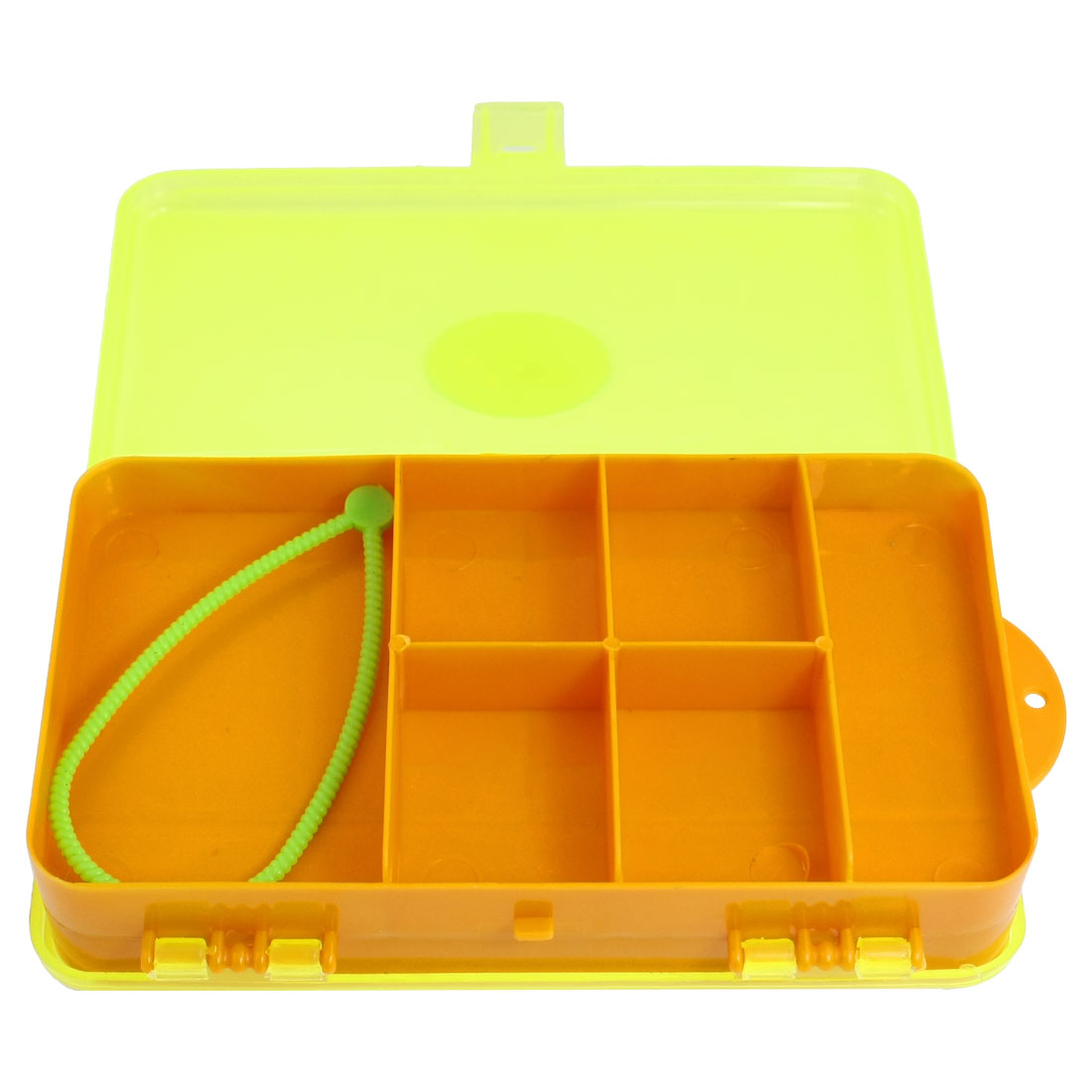 Clear Yellow Orange Plastic 11 Compartment Fishing Hook Holder Case