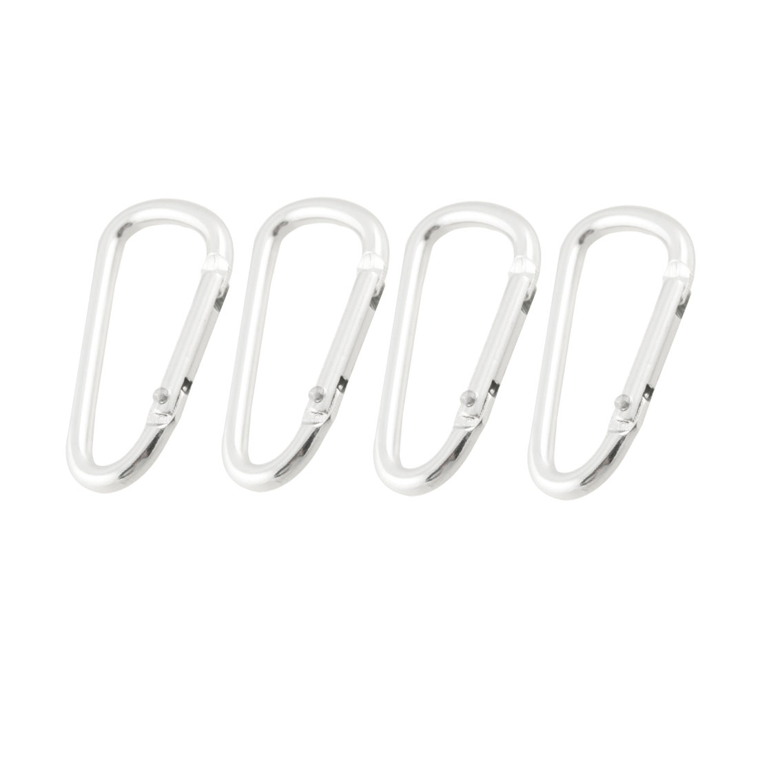 4 Pcs Silver Tone Spring Gate D Shape Aluminum Alloy Carabiners