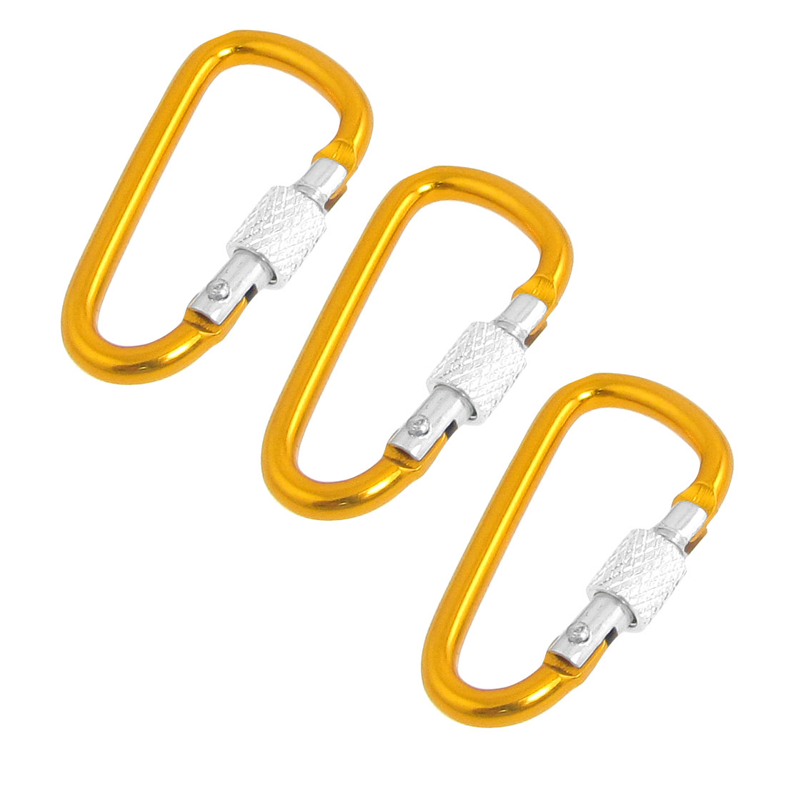 3 Pcs Yellow Aluminum Spring Loaded Gate Lockable Carabiner