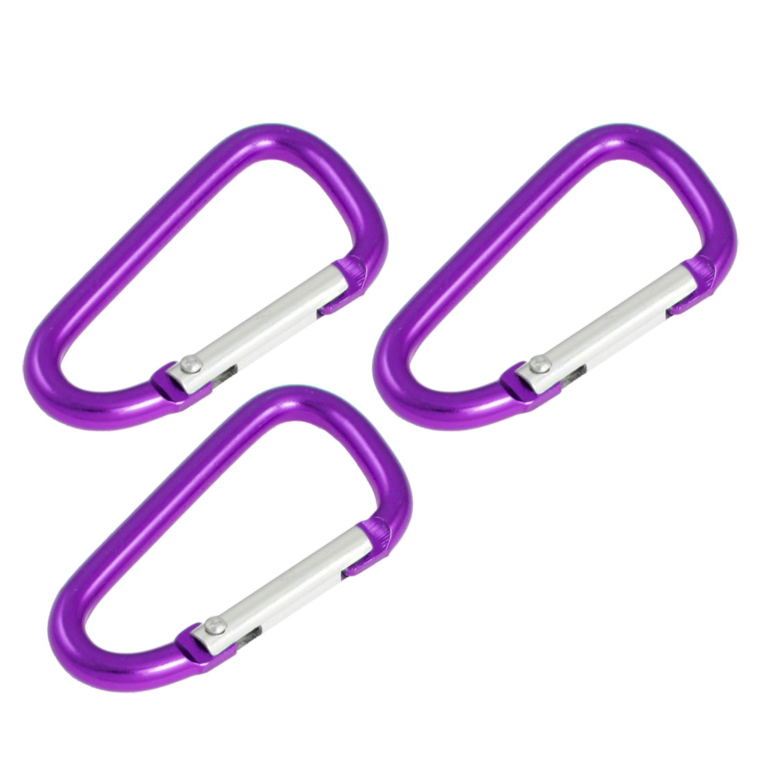 3 Pcs 5.8cm Long Purple Spring Loaded Gate Aluminum Alloy Carabiner