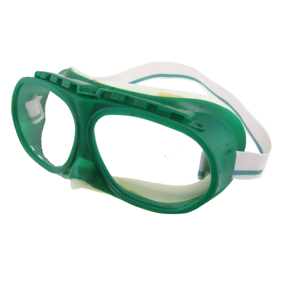 Elastic White Band Green Clear Anti Dust Protective Lab Glasses Goggles