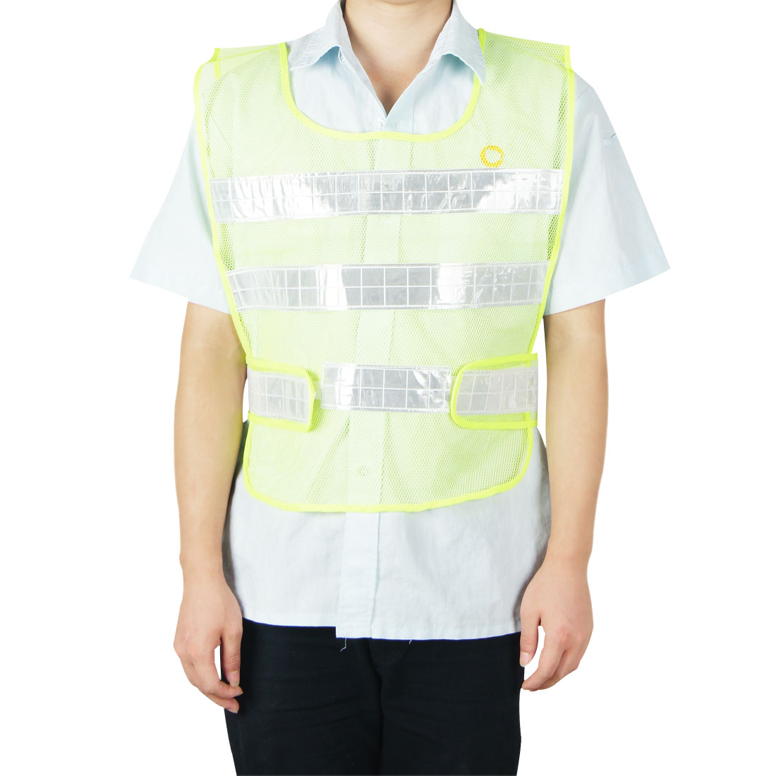 Lime Yellow High Visibility Security Vest w Silver Tone Reflective Strips