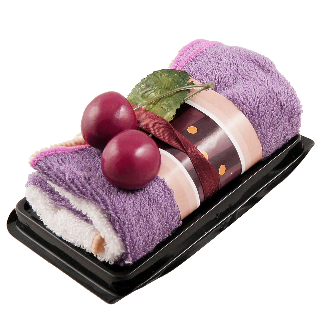Purple White Swiss Roll Cake Cotton Towel Ornament 2 In 1