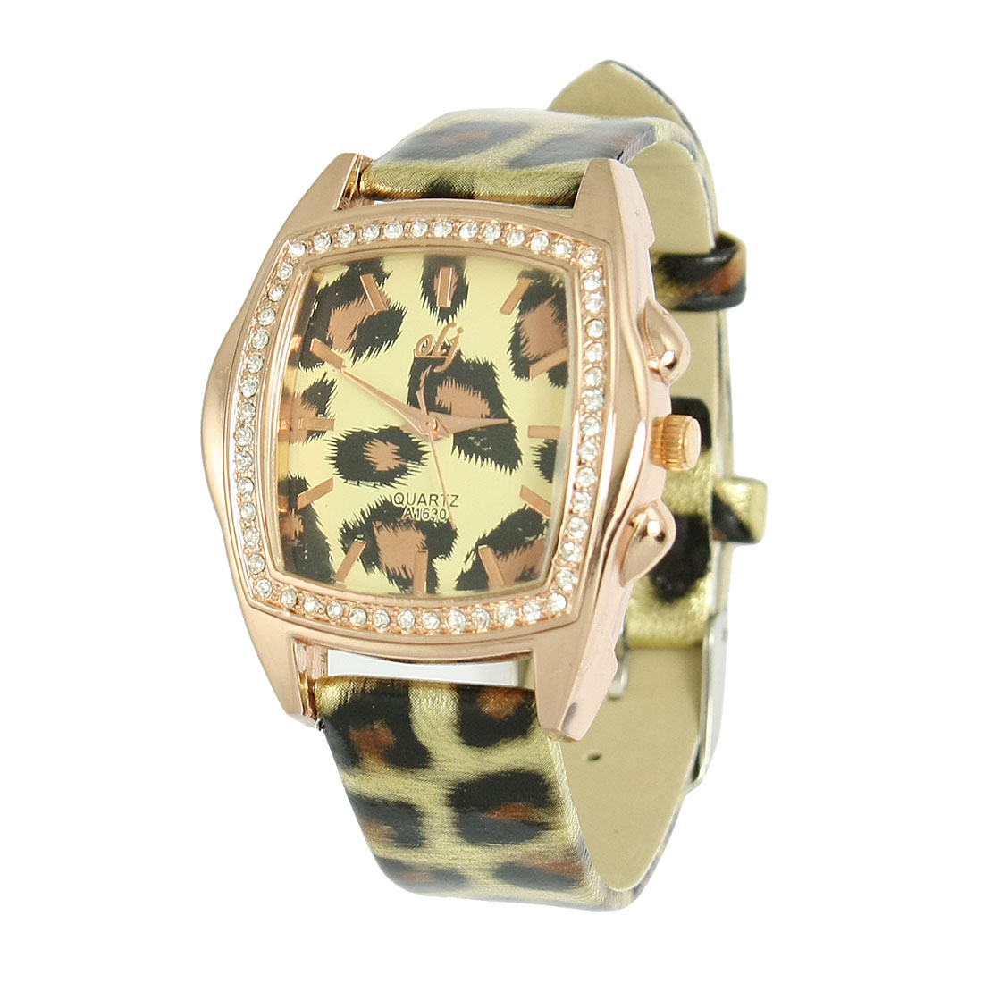 Panther Print Fanx Leather Band Square Metal Base Wrist Watch Gold Tone