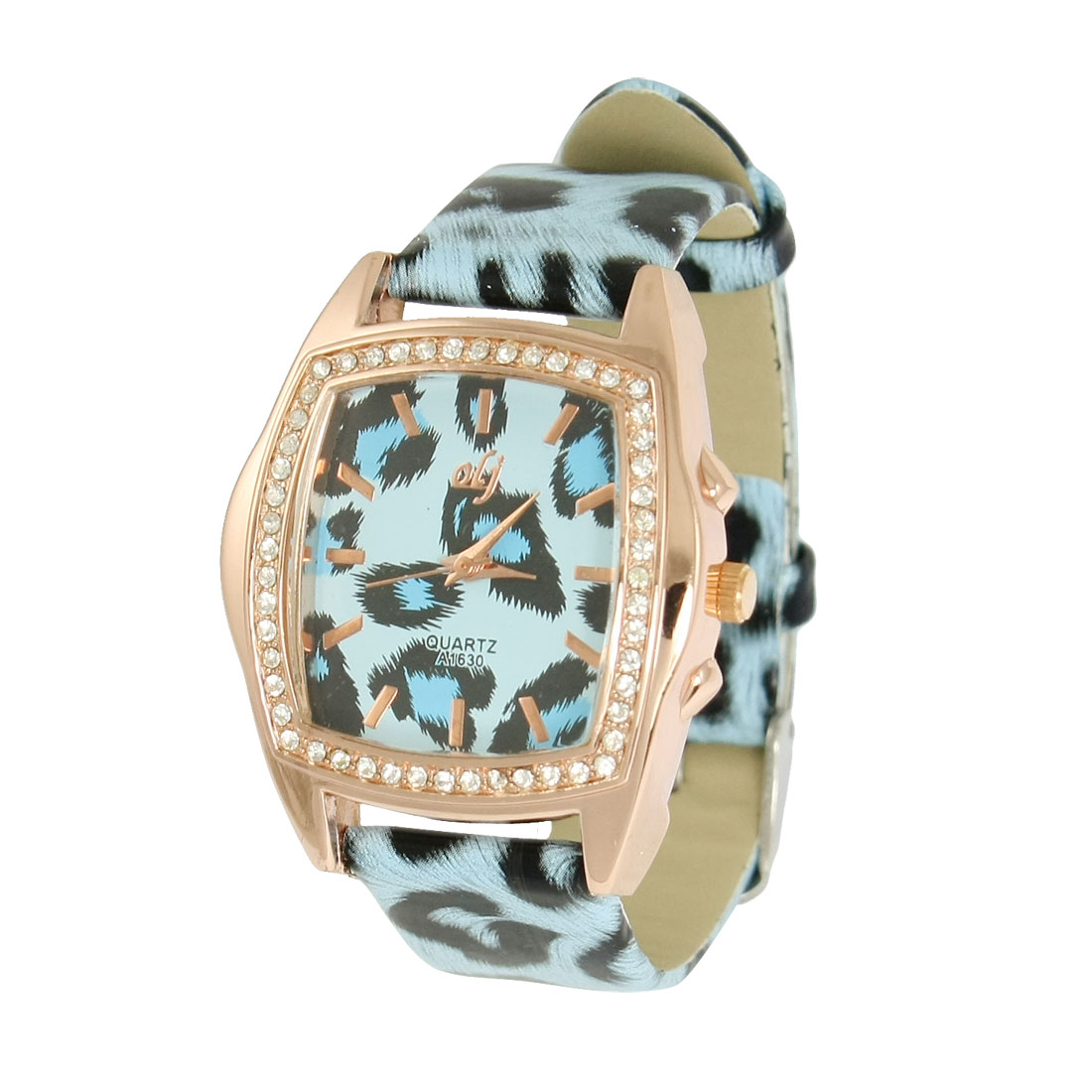 Panther Patterns Fanx Leather Band Square Metal Base Wrist Watch Blue