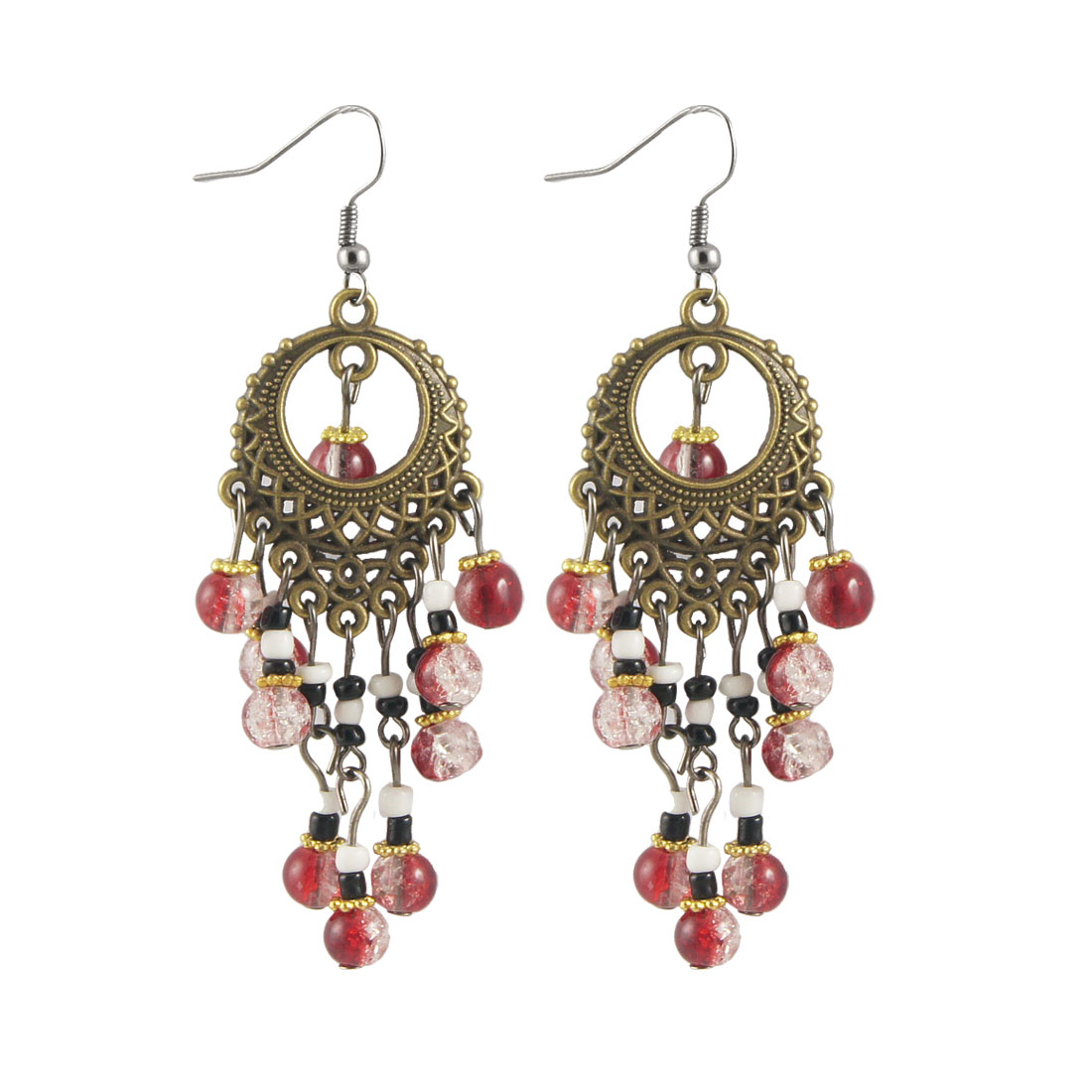 Pairs Red Clear Plastic Dangle Beads Pendants Fish Hook Earrings