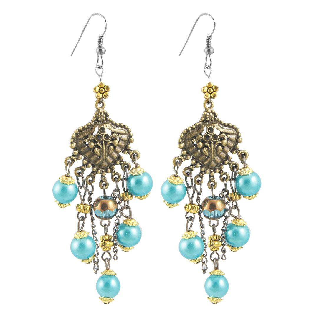 Bronze Tone Leaf Shape Decor Teal Blue Beads Pendants Hook Earrings