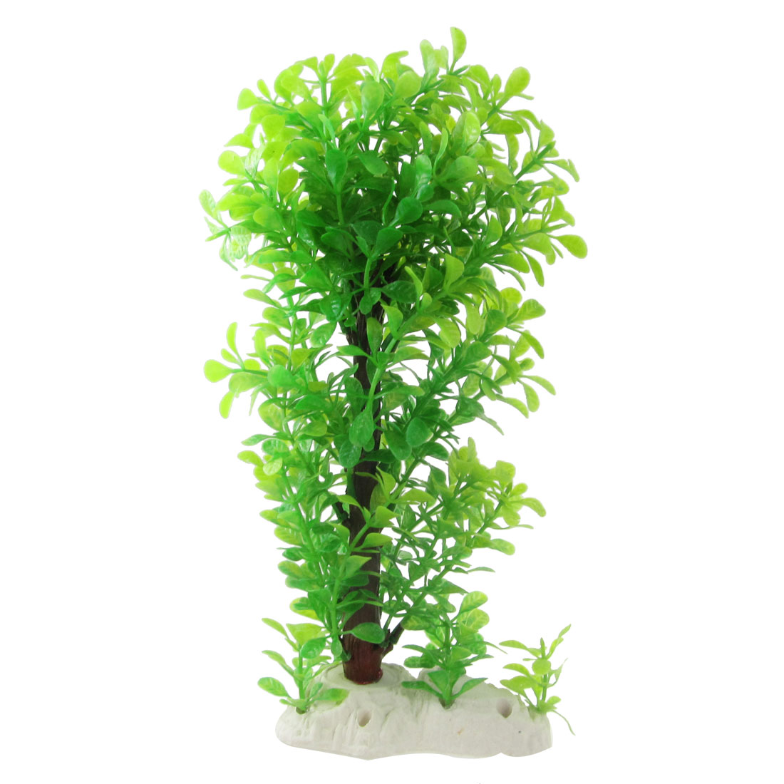 "Aquarium Lime Green Emulational Plastic Plant Grass 11.4"" Height"