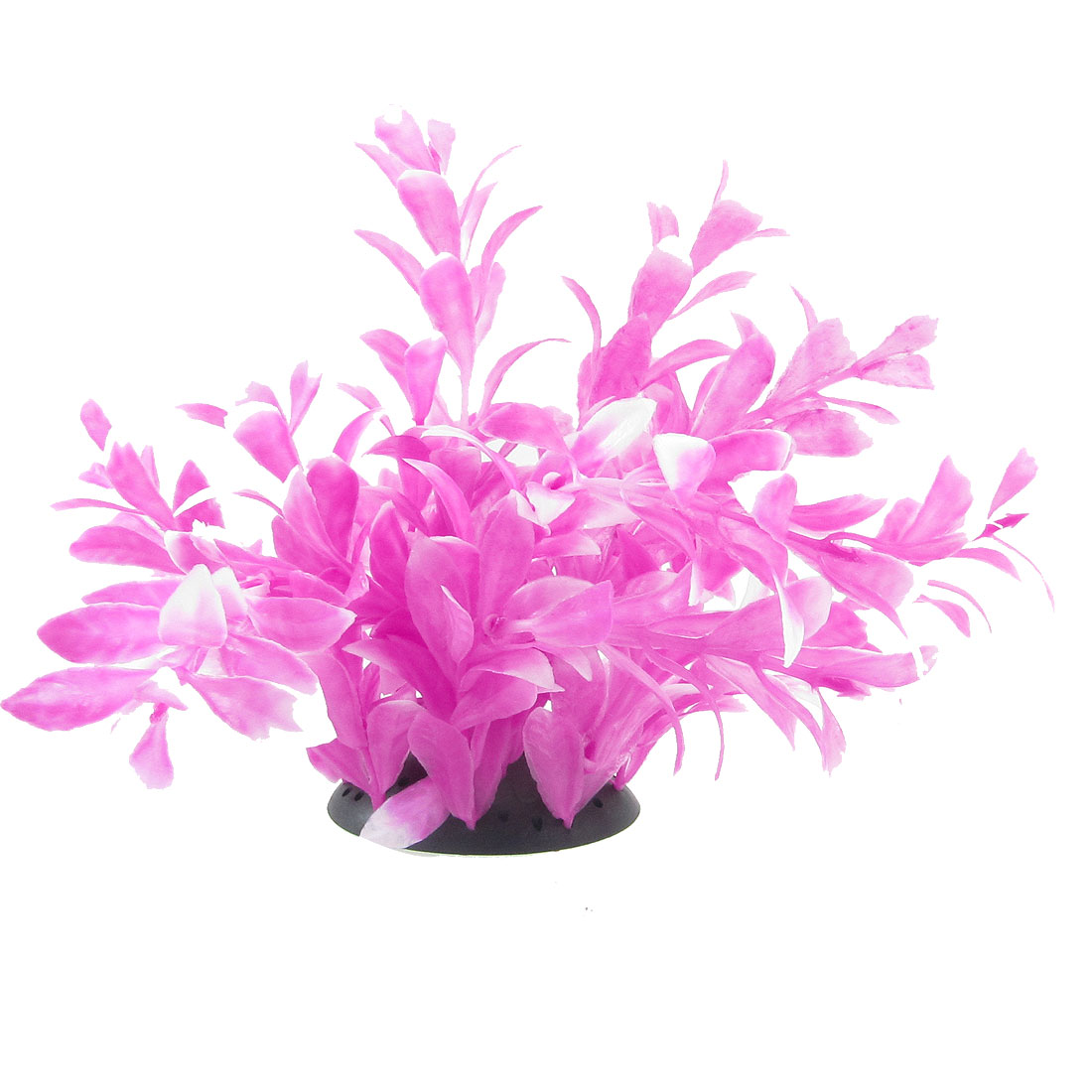 "7.1"" Fuchsia Plastic Fish Tank Aquarium Ornament Plant w Base"