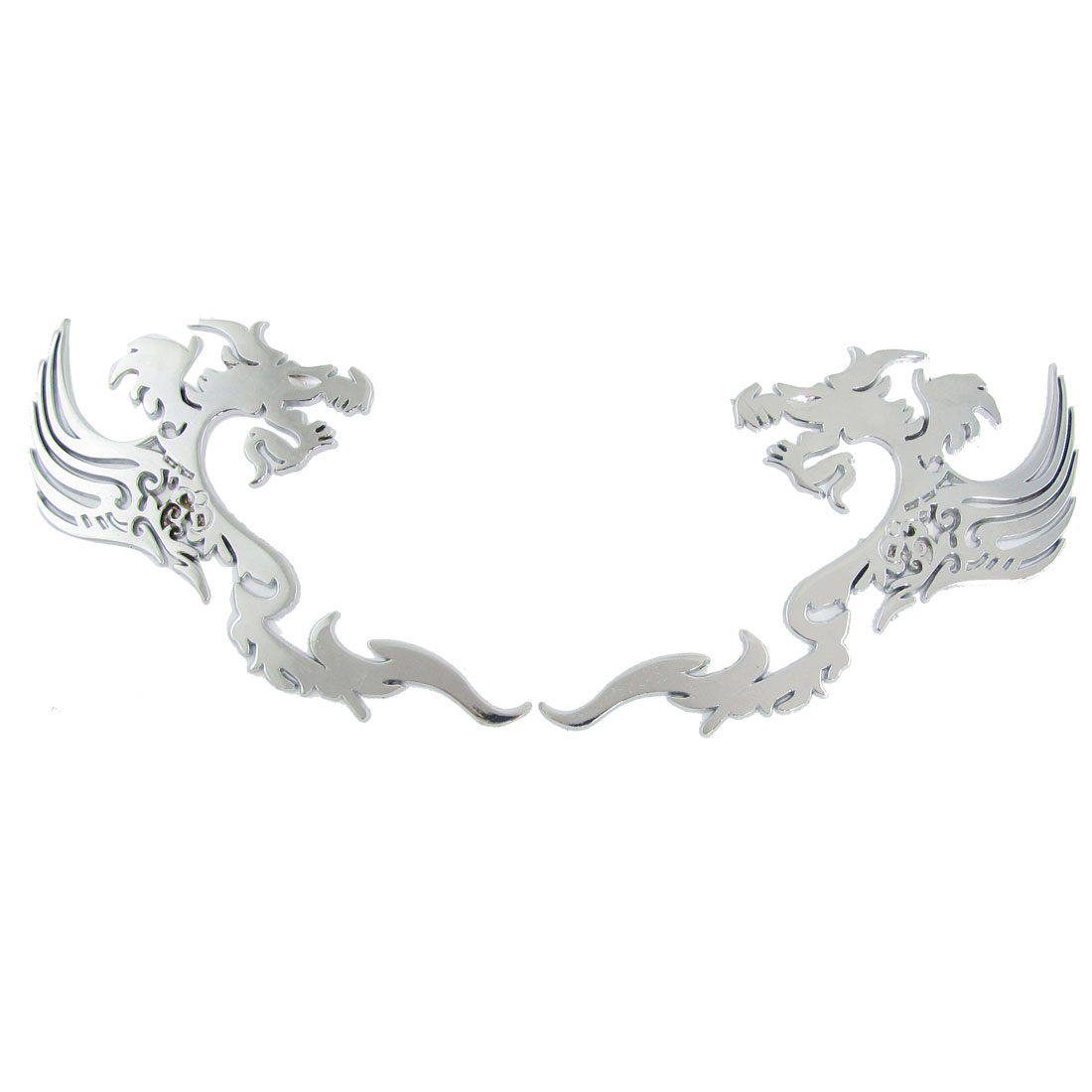 2 Pcs Car Vehicle Ornament 3D Dragon Shape Sticker Silver Tone