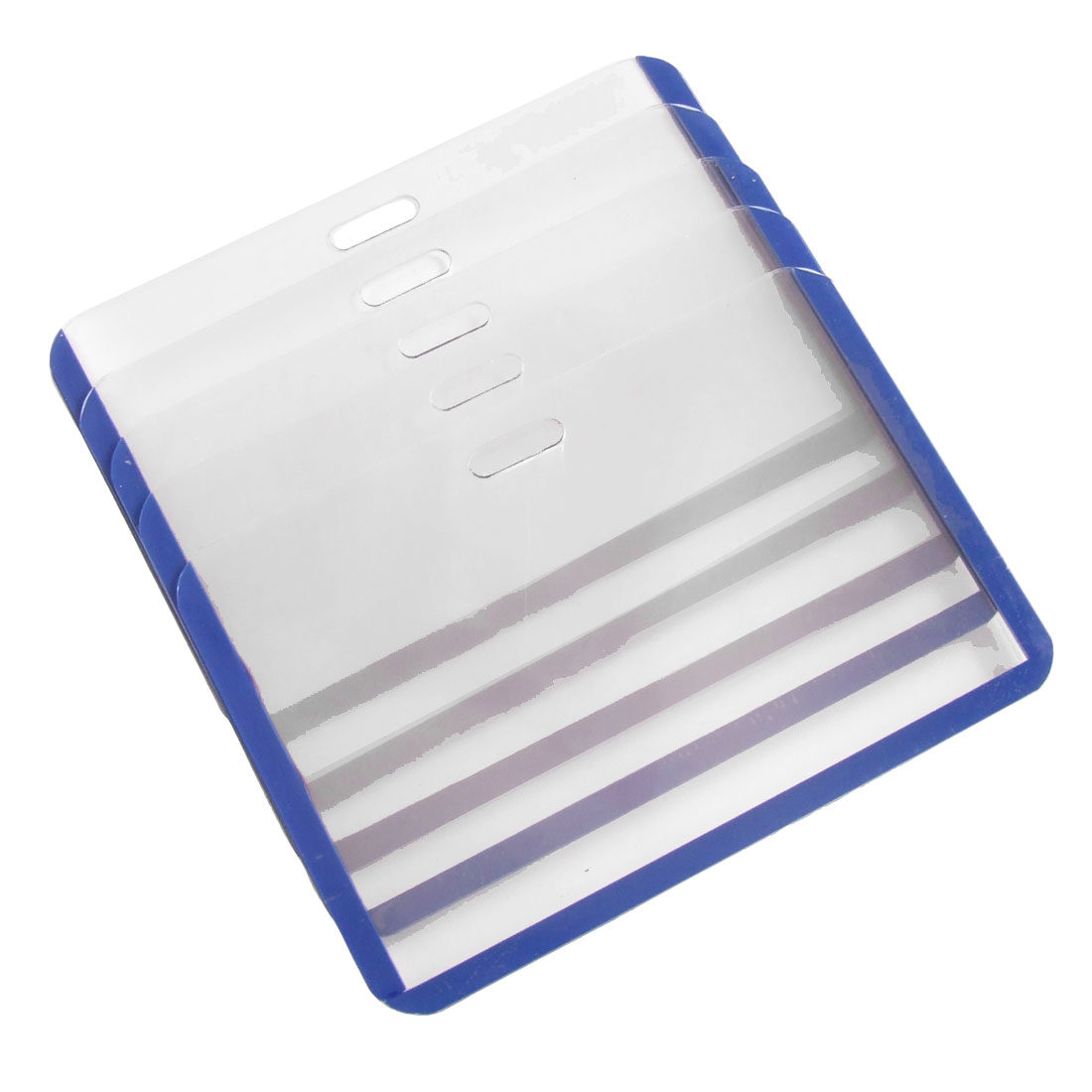 10 Pcs Blue Clear Plastic Horizontal Name Card ID Badge Holder Protector Pouch