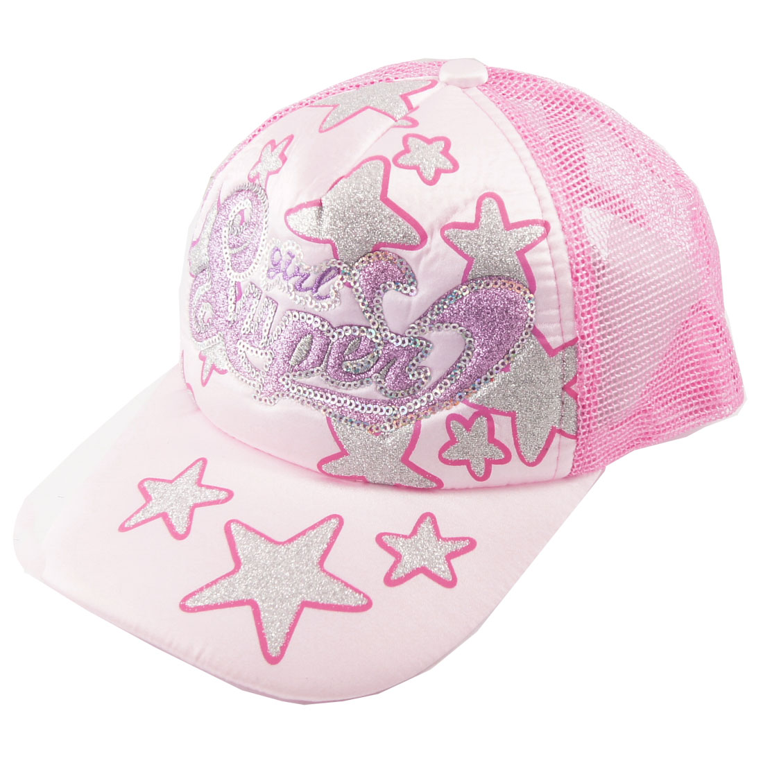 Women Glittery Letter Star Print Mesh Baseball Ball Cap Hat Brown Pink