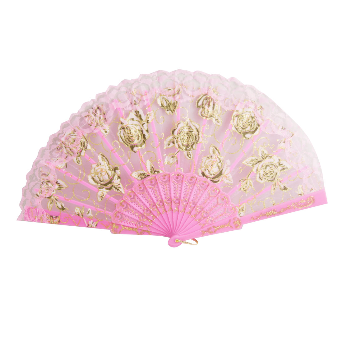 Flower Painted Plastic Organza Hand Folding Fan Pink for Lady