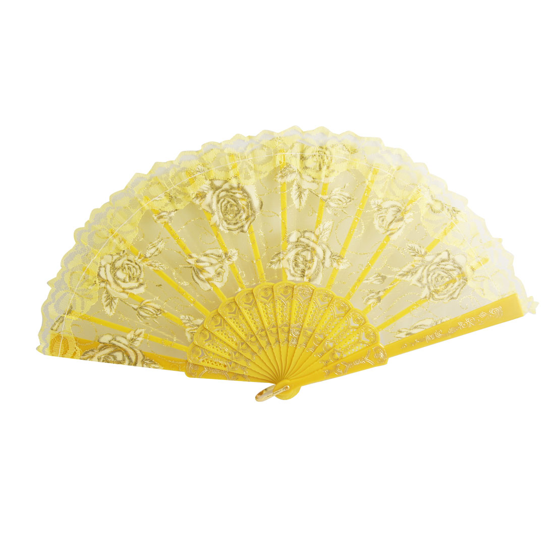 Floral Painted Plastic Organza Yellow Hand Folding Fan for Lady