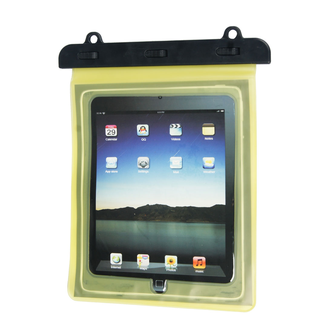 Beach Fishing Yellow Plastic Water Resistant Bag Case Protector for Tablet PC