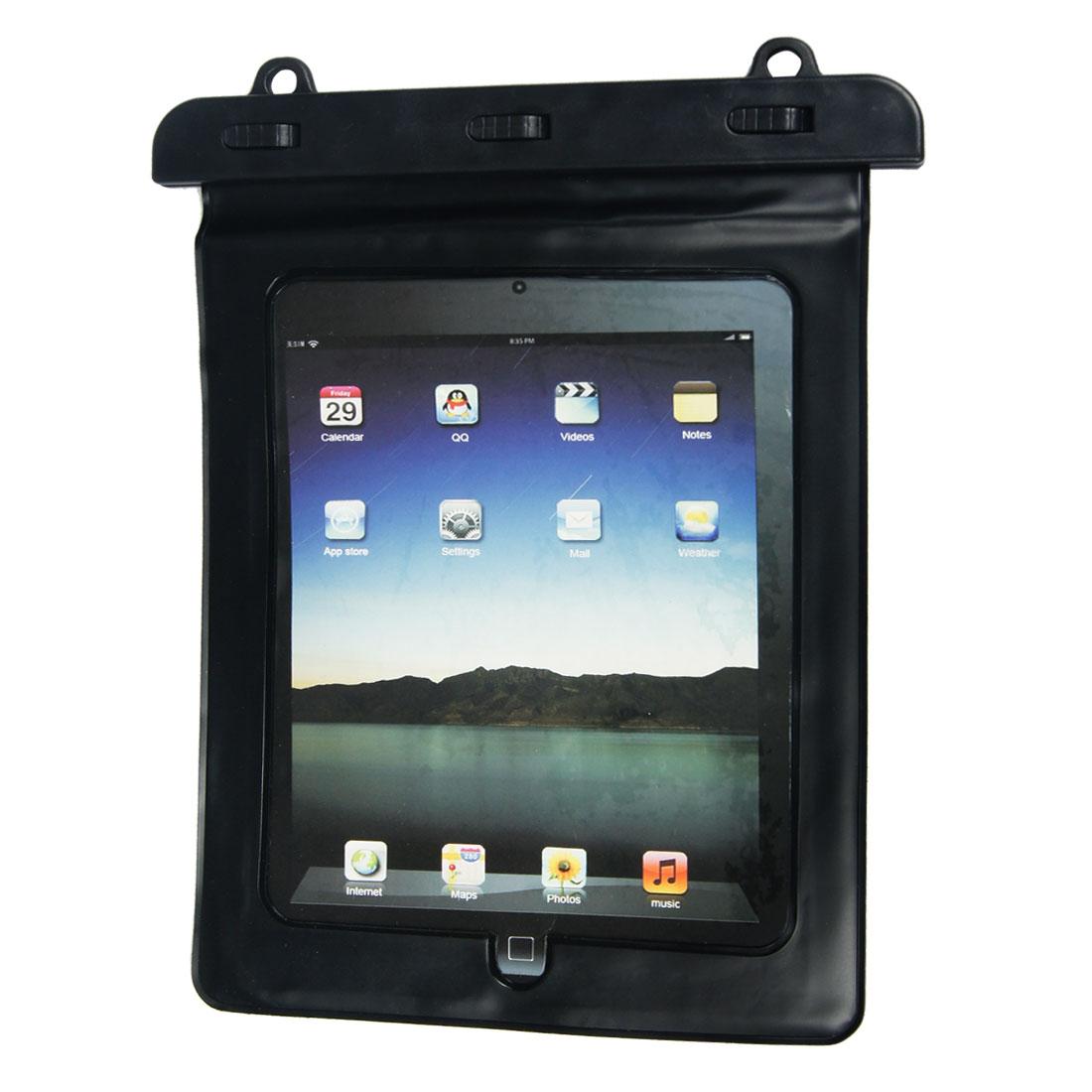 Sports Black Plastic Water Resistant Bag Holder + Shoulder Strap for Tablet PC