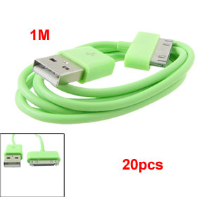 20pcs Green 1M USB Sync Data Charger Cable Cord for iPhone 3G 3GS