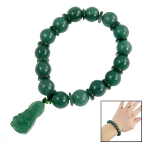 Lady Guanyin Pendant Faux Jade Beaded Bracelet Dark Green