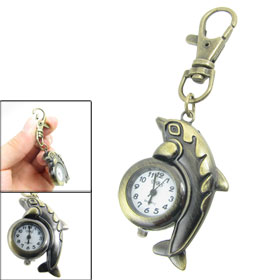 Bronze Tone Dolphin Shaped Lobster Clasp Key Ring Analog Quartz Watch