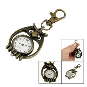 Antique Style Owl Shaped Lobster Clasp Key Ring Analog Quartz Watch