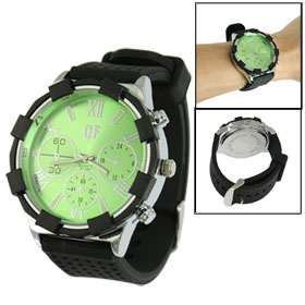 Men Black Silicone Band Green Round Stainless Steel Base Wrist Watch
