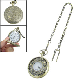 Sunflowers Printing Cover Bronze Tone Chain Clip Round Pocket Quartz Watch