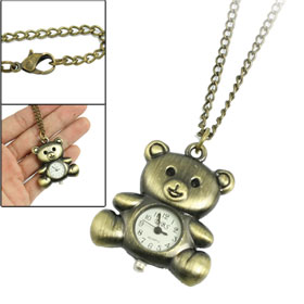 Antique Style Metal Bronze Tone Bear Shaped Pendant Necklace Watch