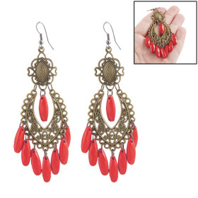 Woman Red Plastic Beaded Dangling Fish Hook Chandelier Earrings
