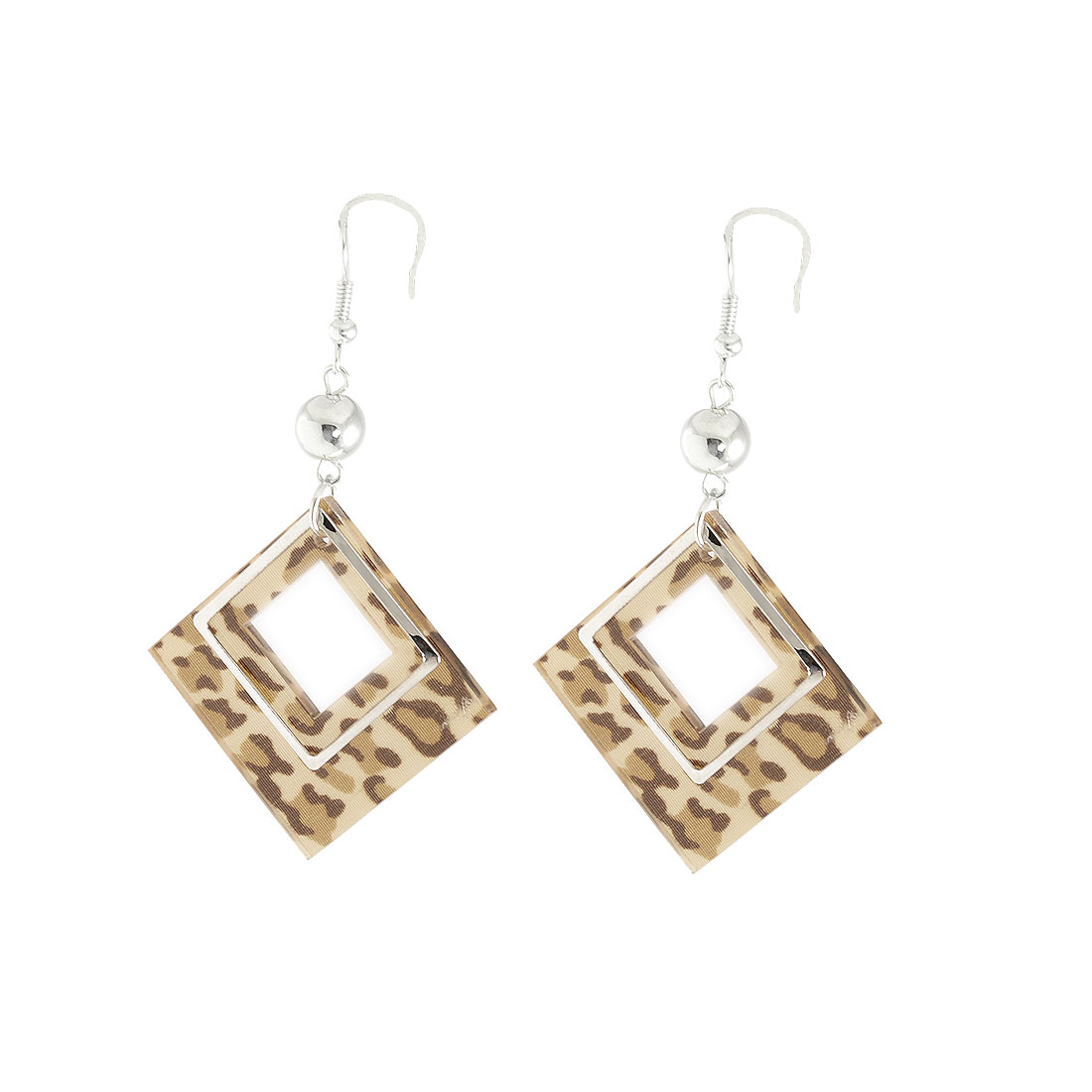 Women Faux Bead Decor Leopard Pattern Rhomb Fish Hook Earrings Pair