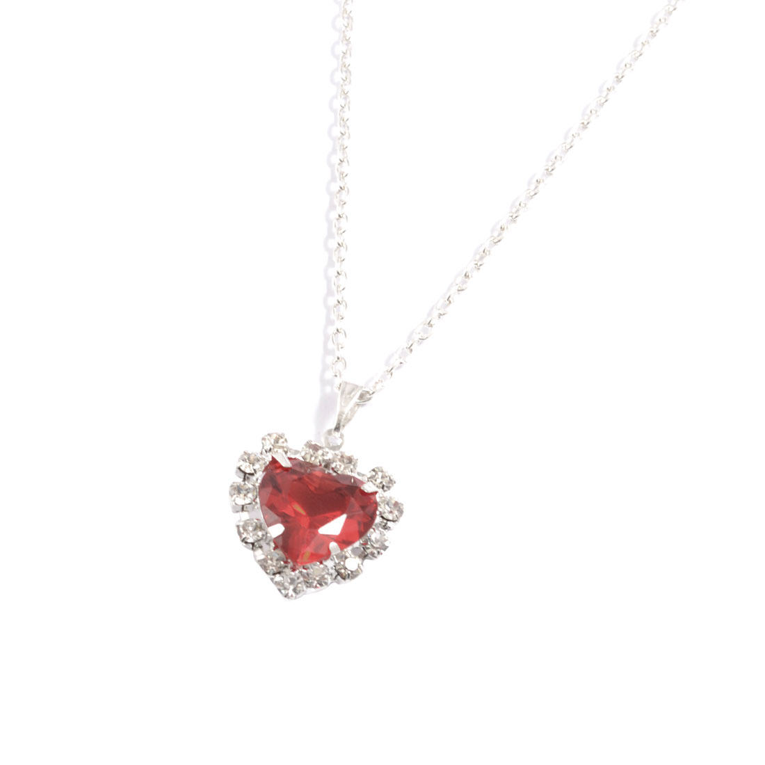 Woman Red Faux Heart Shape Crystal Pendant Silver Tone Necklace