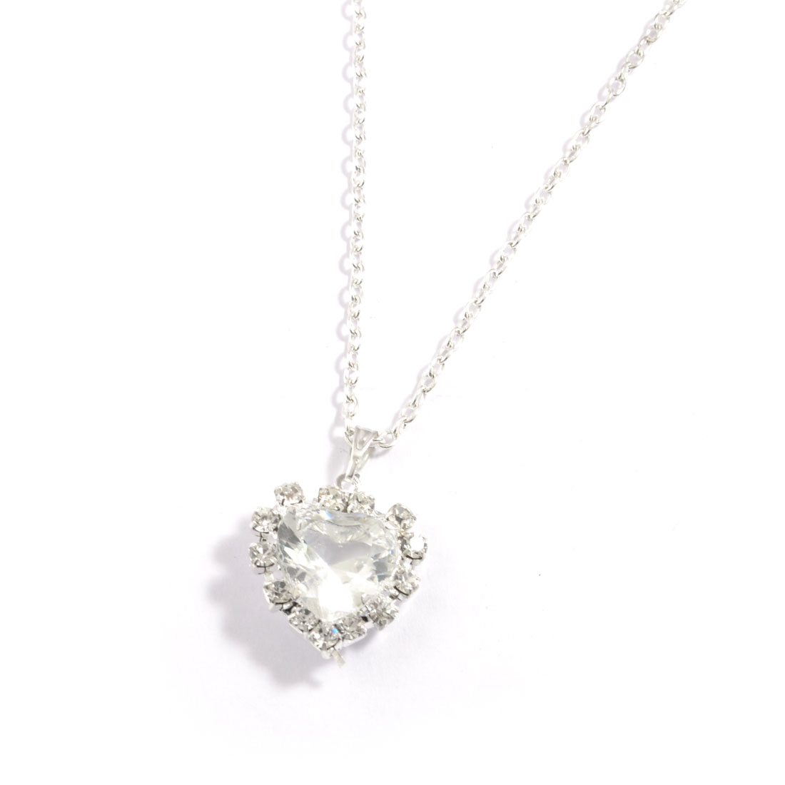 Woman Plastic Clear Heart Shape Crystal Detachable Necklace Silver Tone