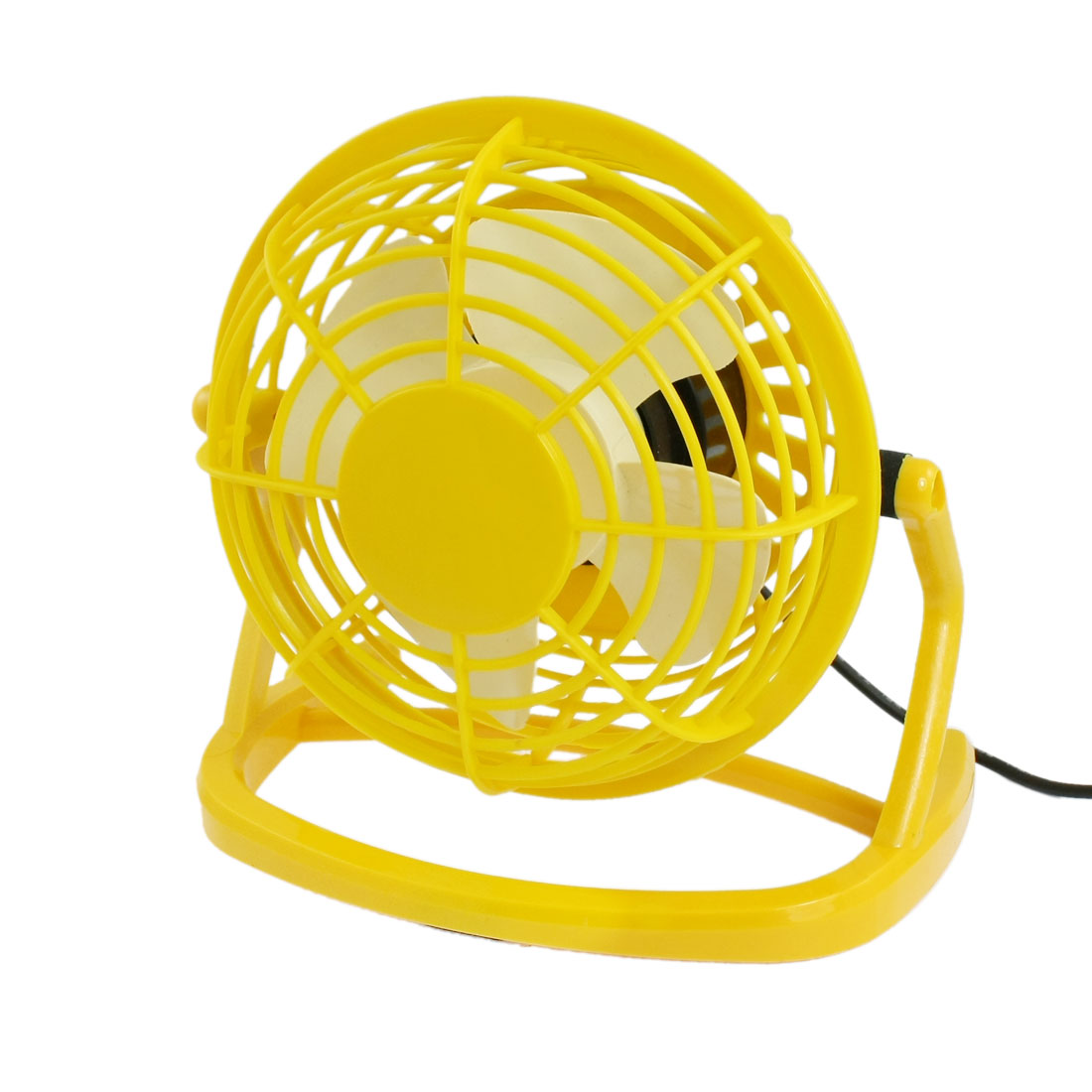 Yellow Angle Adjustable Plastic USB Mini Desk Table Fan
