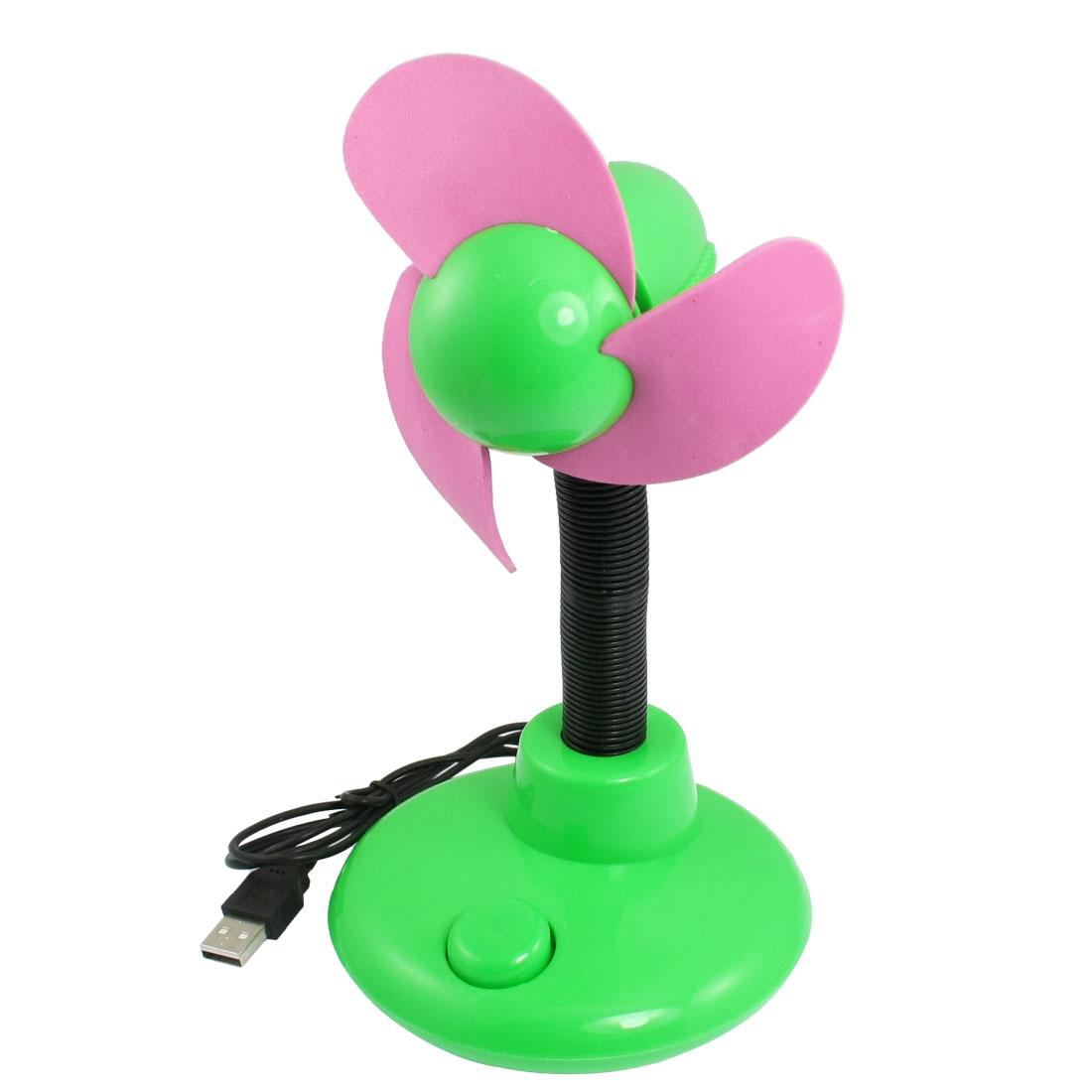 Pink Foam Paddle Round Base Adjustable Neck USB Fan Green