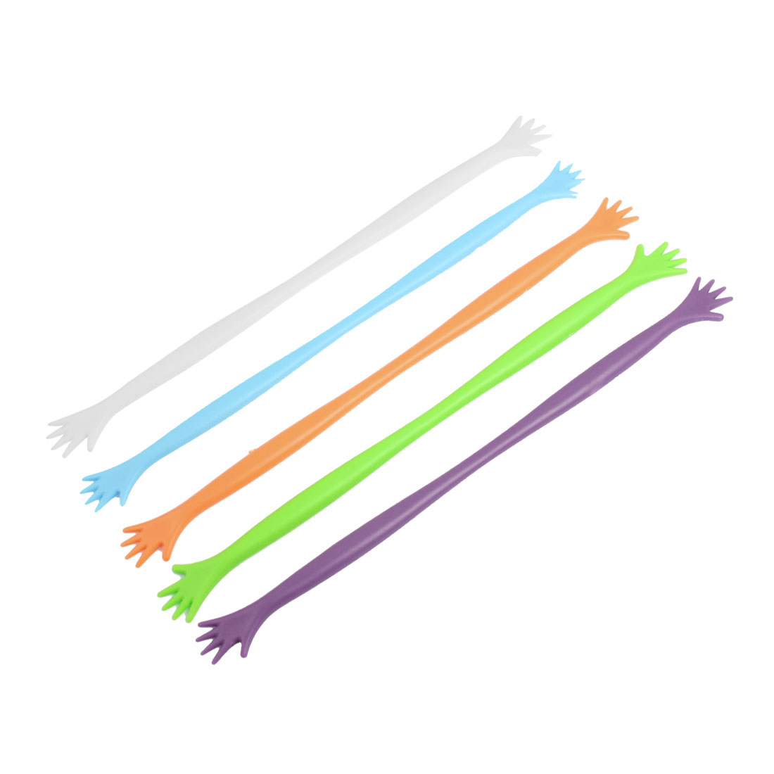 Multicolored Hand Shape Plastic Drinking Stirring Sticks 5 Pcs
