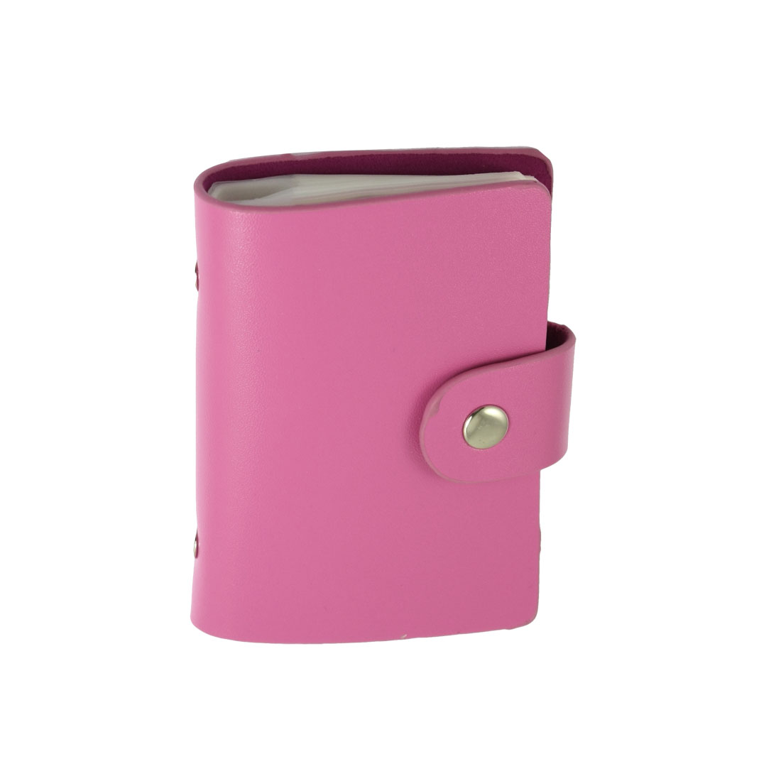 Fuchsia Faux Leather Plastic Bank Credit Card Case Holder