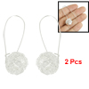 2 Pcs Spherical Shape Pierced Earring Silver Tone for Ladies
