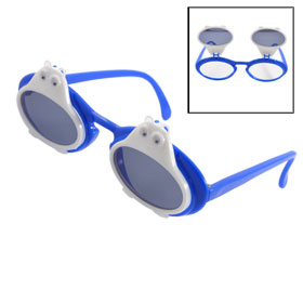 White Owl Blue Frame Arms Double Layer Plastic Sunglasses for Children