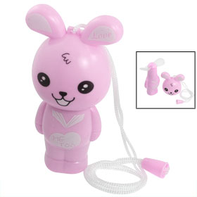 Pink Cartoon Rabbit Shape Mini Pocket Battery Operated Fan