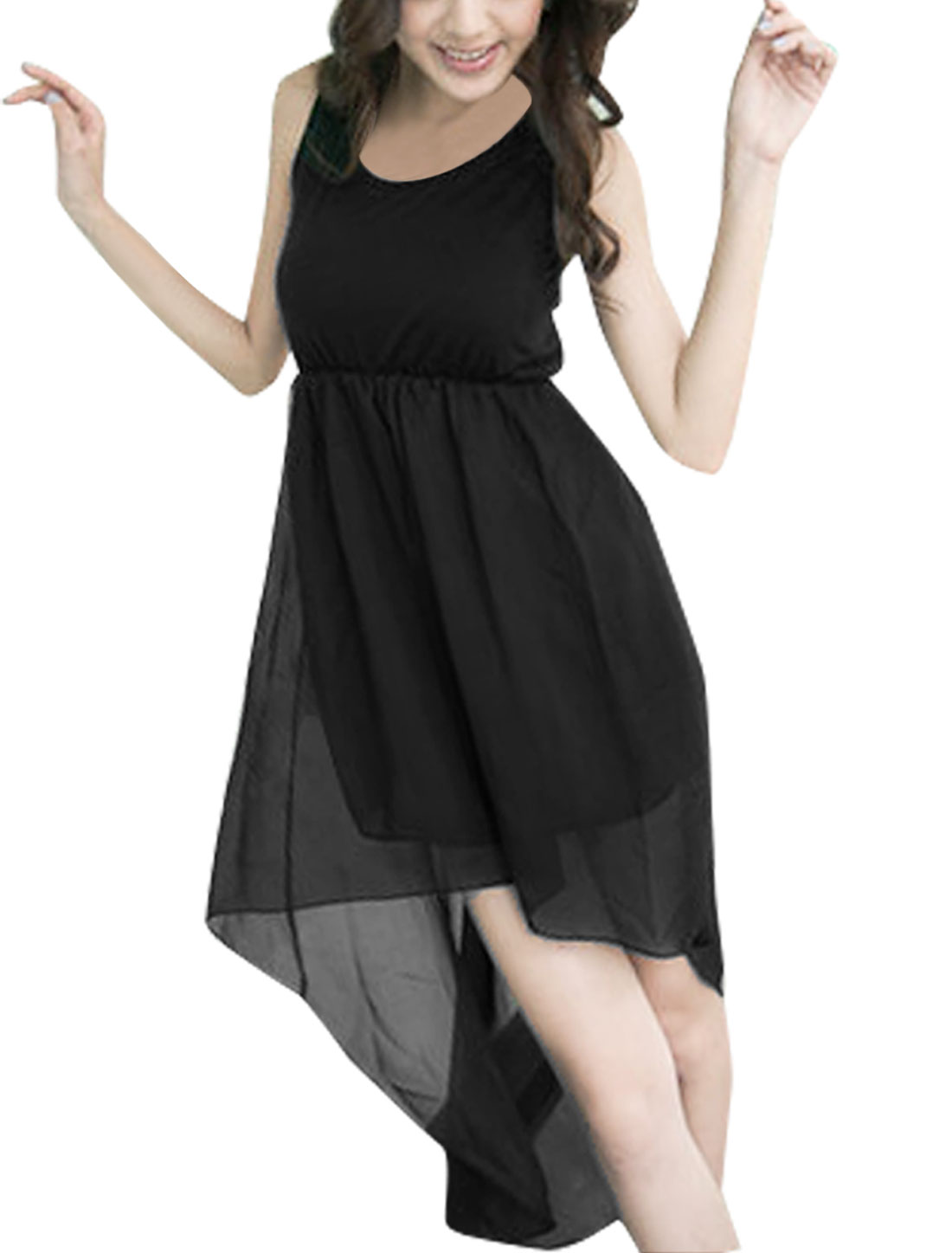 Woman Scoop Neck Chiffon Panel Bottom Black Tank Dress XS