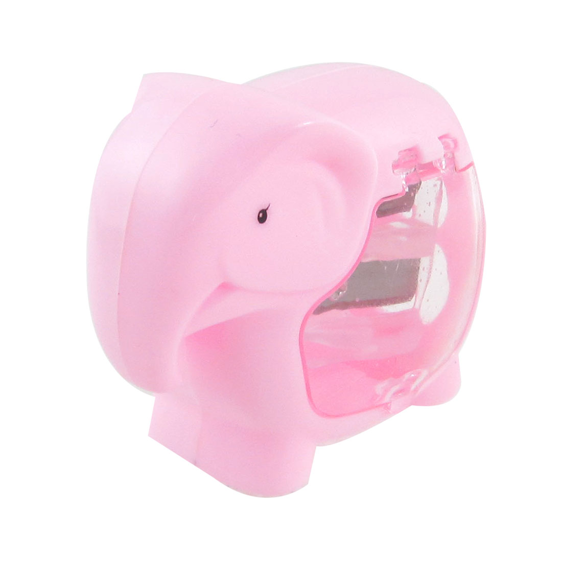 Pink Plastic Case Double Hole Elephant Shaped Pencil Sharpener