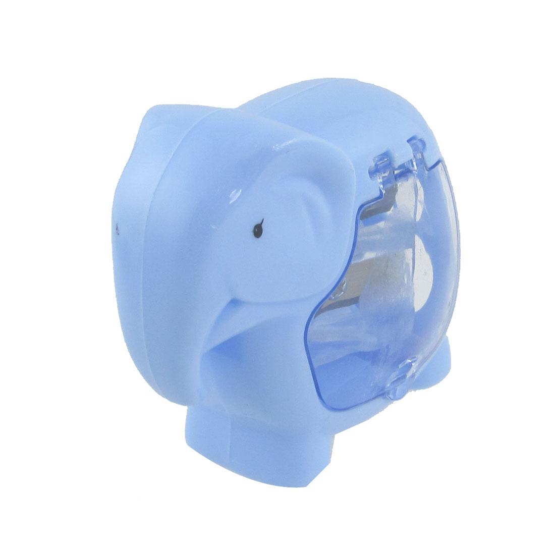 Blue Plastic Case Double Hole Elephant Shaped Pencil Sharpener