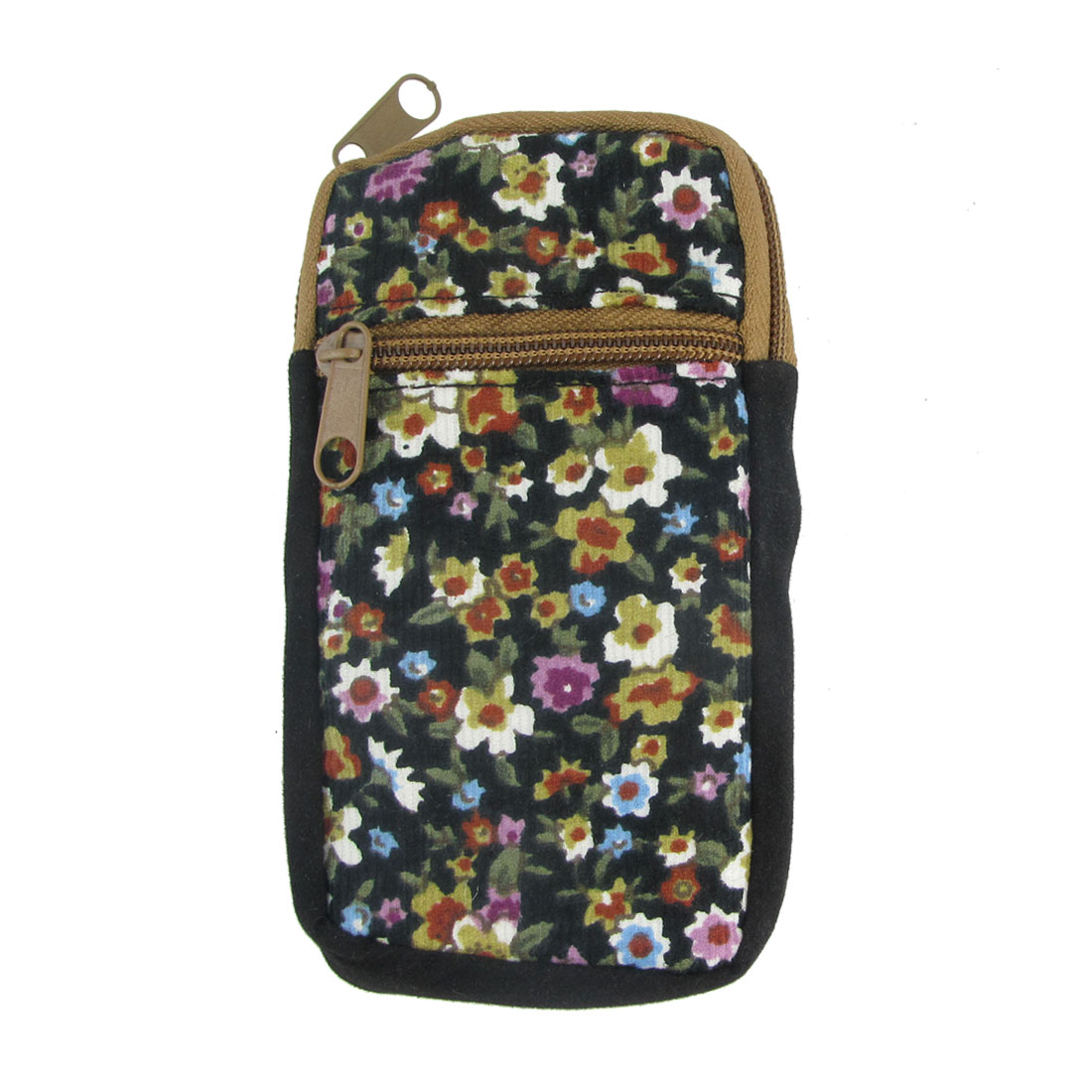 Allover Floral Pattern 2 Pocket Cellphone Key Coin Holder Wrist Bag