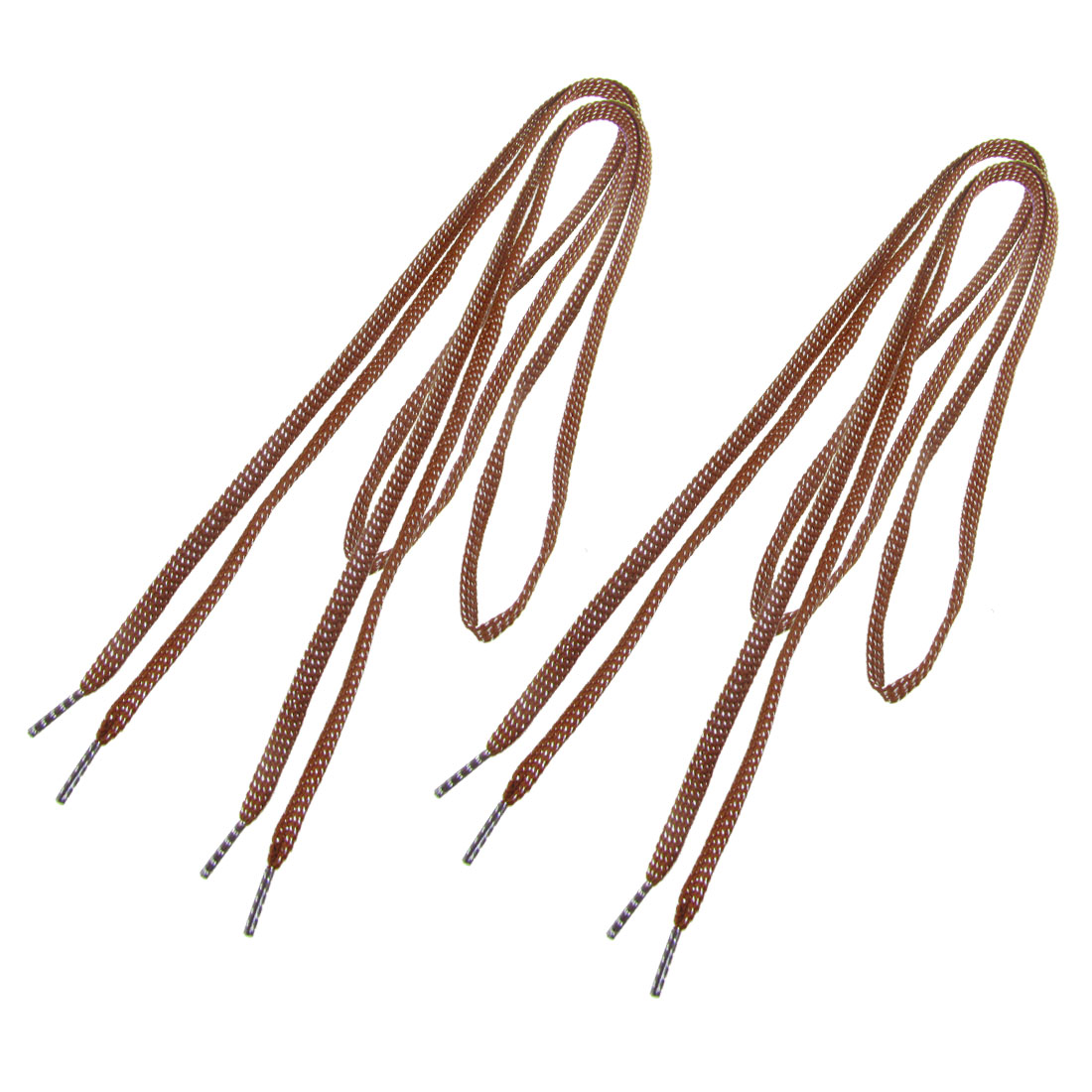 "2 Pair 45.6"" Long Brown Metal Thread Decor Round Plastic Tip Nylon Shoelaces for Sneaker"