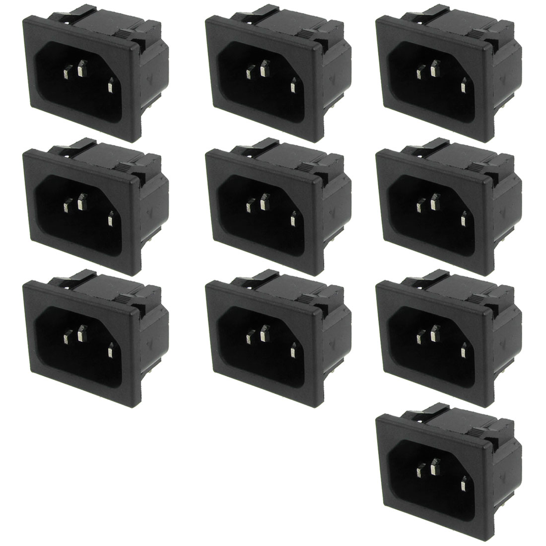 10 Pcs AC 250V 10A 3P C14 Connector Panel Mount Power Inlet Socket