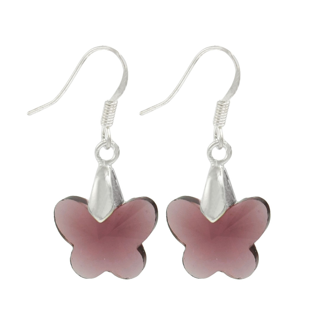 Women Jewelry Mauve Plastic Crystal Butterfly Shaped Dangling Earrings Pair